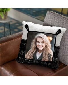 Black & silver square pillow cushion