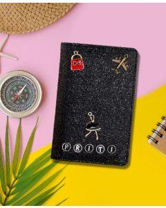 Black Glitter Passport Cover