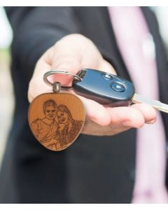 Wood Engraved Heart Keychain