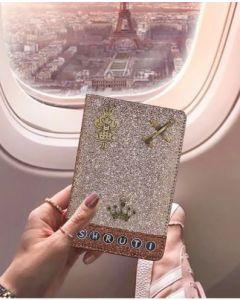 Pink Glitter Passport Cover