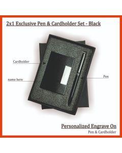 2 in 1 Pen & card Holder Set - Black