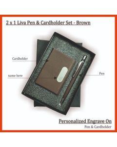 2 in 1 Live Pen & Card Holder Set Brown