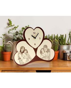 Engraved Wooden 2 photo Table Clock
